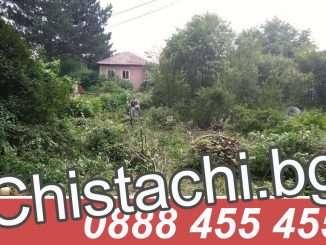 Почистване на двор с косене на трева и рязане на храсти